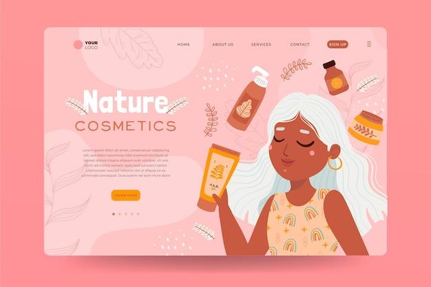 Modelo de página de destino de cosméticos da natureza com mulher ilustrada