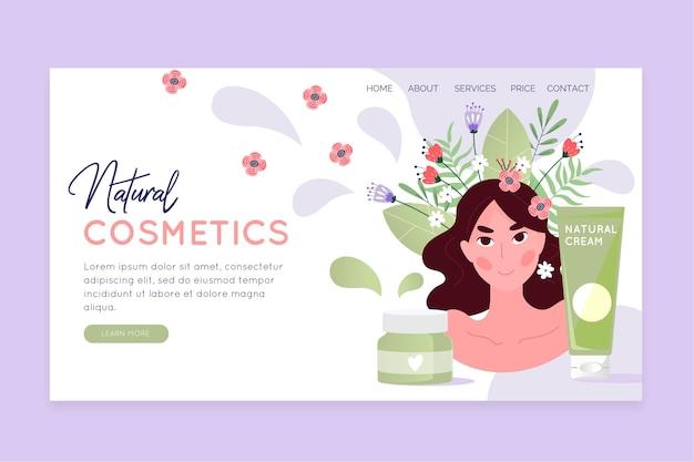 Modelo de página de destino de cosméticos da natureza