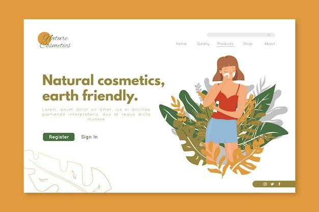 Modelo de página de destino de cosméticos de natureza com mulher