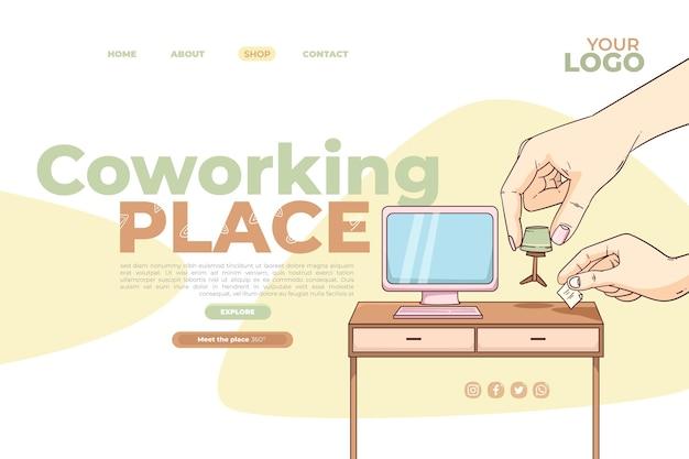 Modelo de página de destino de coworking de design plano