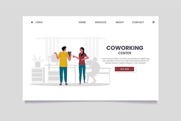 Modelo de página de destino de coworking desenhado à mão plana