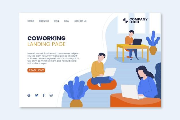 Modelo de página de destino de coworking