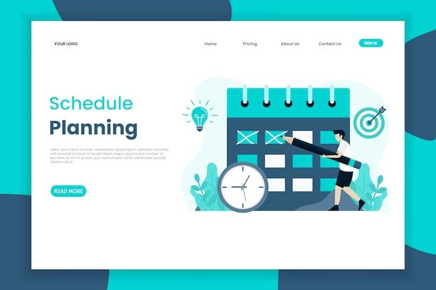 Modelo de página de destino de cronograma de planejamento de design plano
