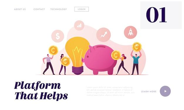 Modelo de página de destino de crowdfunding.