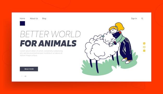 Modelo de página de destino de cuidados com animais.