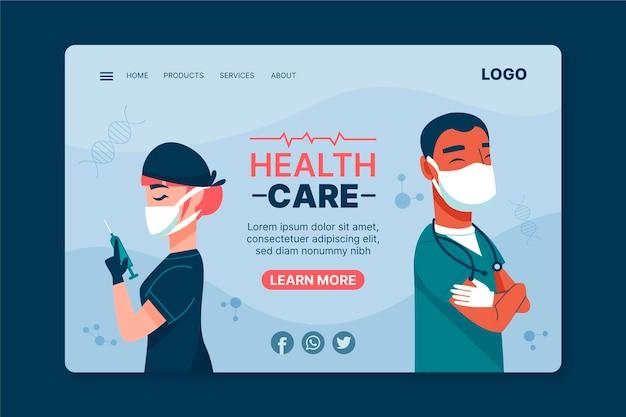 Modelo de página de destino de cuidados de saúde