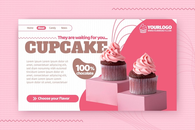 Modelo de página de destino de cupcake delicioso