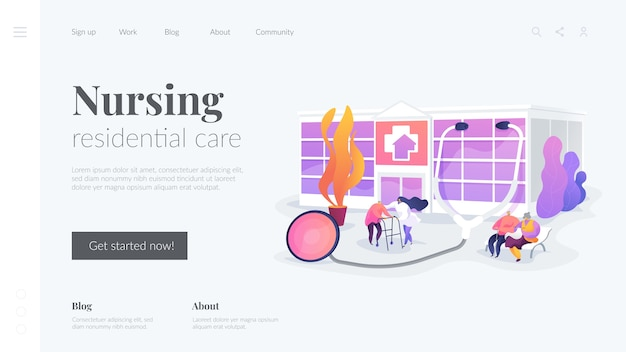 Modelo de página de destino de cura residencial de enfermagem