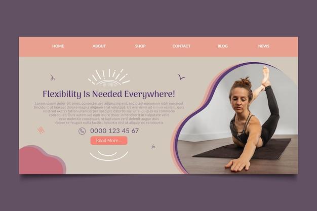Modelo de página de destino de curso de ioga
