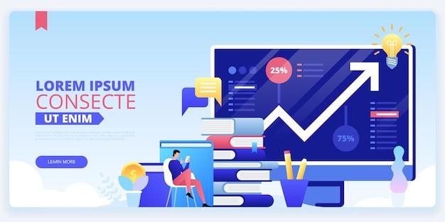 Modelo de página de destino de cursos de alfabetização financeira. página inicial do site da escola de treinamento de negócios online
