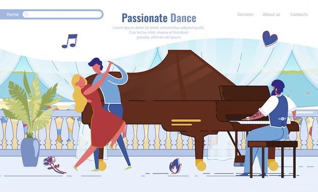 Modelo de página de destino de dança apaixonada