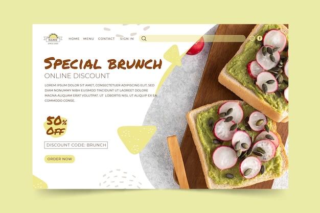Modelo de página de destino de delicioso brunch Vetor grátis