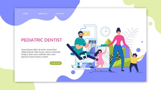 Modelo de página de destino de dentista pediátrica