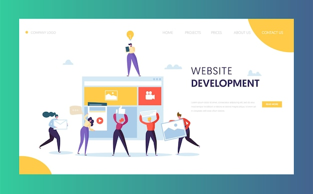 Modelo de página de destino de desenvolvimento da web. pessoas personagens trabalho em equipe criando página da web. aplicativo móvel de interface do usuário.