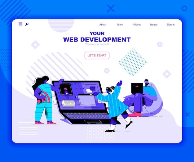Modelo de página de destino de desenvolvimento da web
