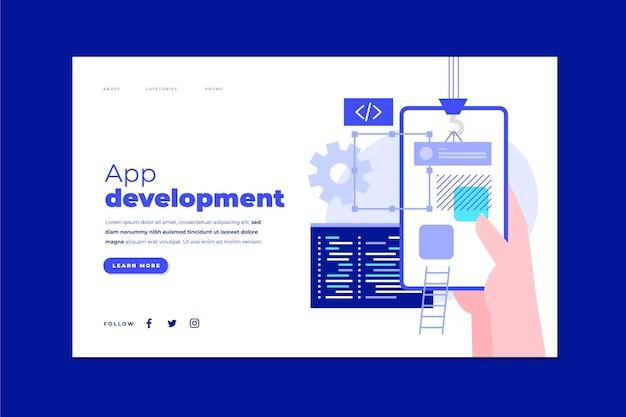 Modelo de página de destino de desenvolvimento de aplicativo com telefone na mão