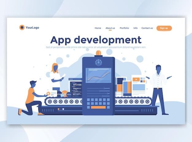 Modelo de página de destino de desenvolvimento de aplicativo. design plano moderno para site