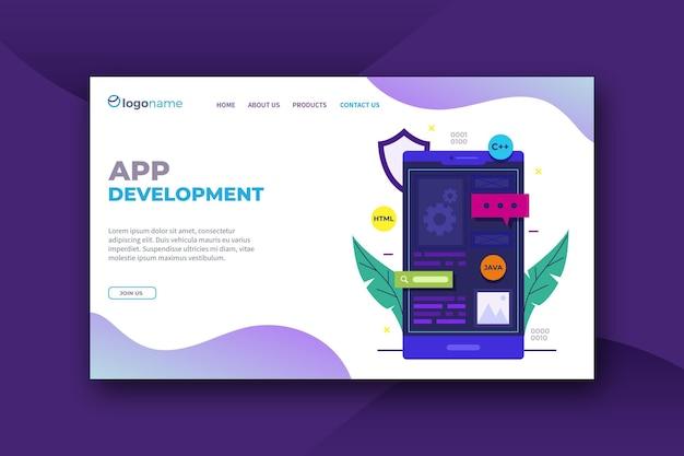 Modelo de página de destino de desenvolvimento de aplicativo