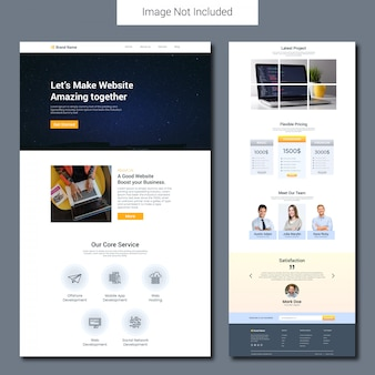 Modelo de página de destino de desenvolvimento de site