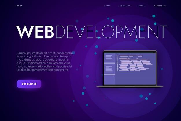 Modelo de página de destino de desenvolvimento de software e web. laptop reslistic com código de programação, aplicativo web e desenvolvimento de aplicativo para desktop