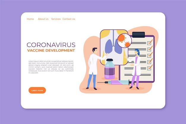 Modelo de página de destino de desenvolvimento de vacinação contra coronavírus