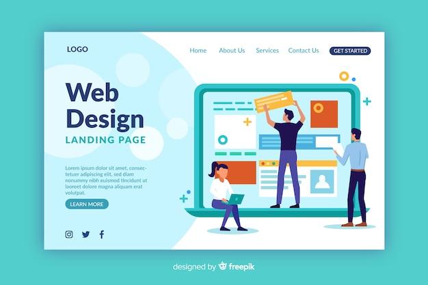 Modelo de página de destino de design da web