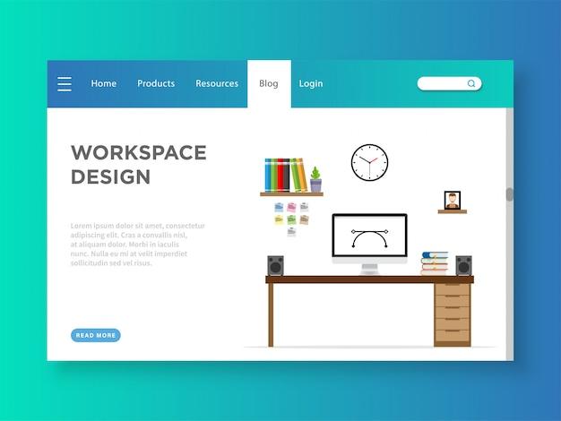 Modelo de página de destino de design de espaço de trabalho