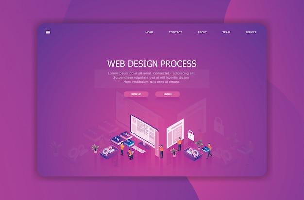 Modelo de página de destino de design isométrico