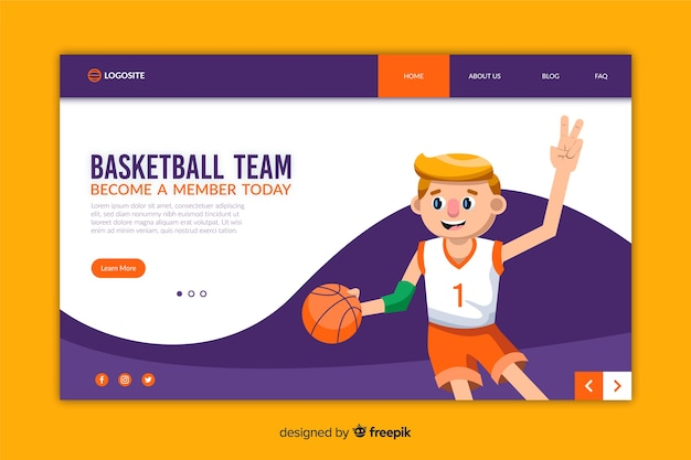 Modelo de página de destino de design plano de esporte