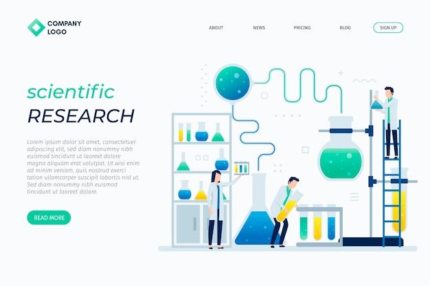 Modelo de página de destino de design plano de pesquisa científica