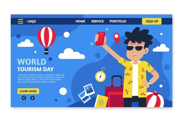 Modelo de página de destino de dia de turismo em mundo plano