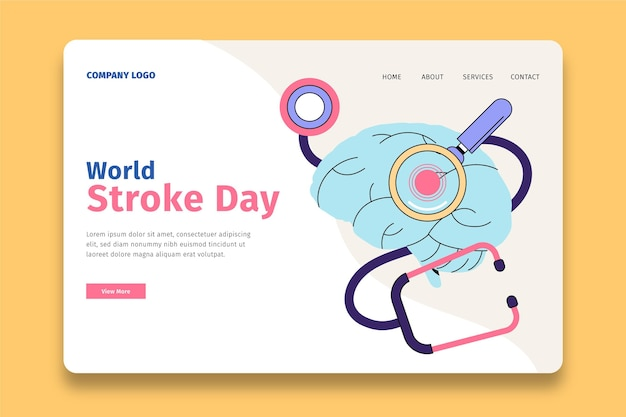 Modelo de página de destino de dia mundial de avc desenhado à mão