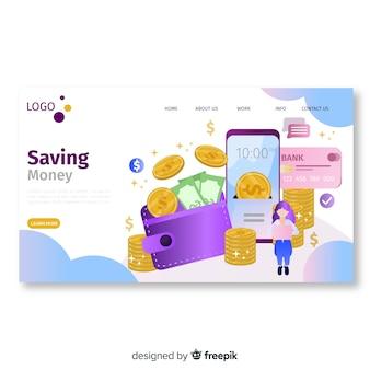 Modelo de página de destino de dinheiro plana