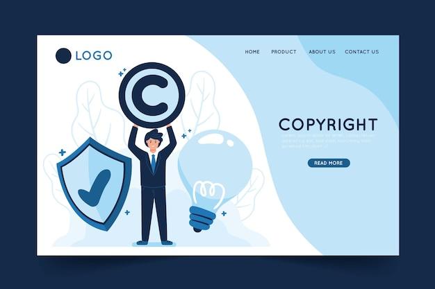 Modelo de página de destino de direitos autorais com ilustração