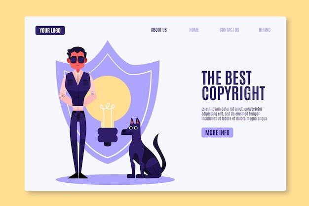 Modelo de página de destino de direitos autorais