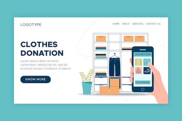 Modelo de página de destino de doação de roupas