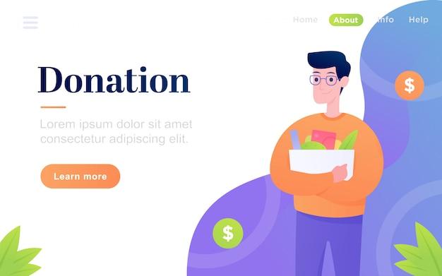 Modelo de página de destino de doação plana moderna
