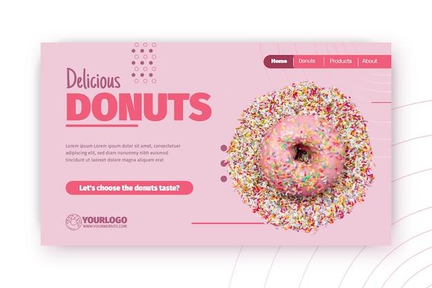 Modelo de página de destino de donuts deliciosos