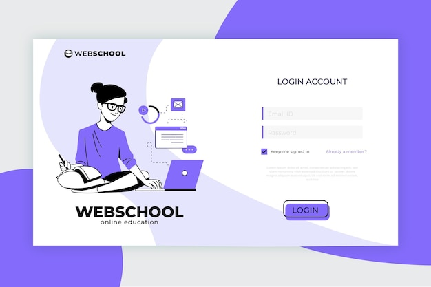 Modelo de página de destino de e-learning