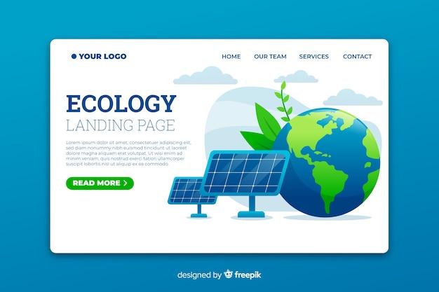 Modelo de página de destino de ecologia com painéis solares