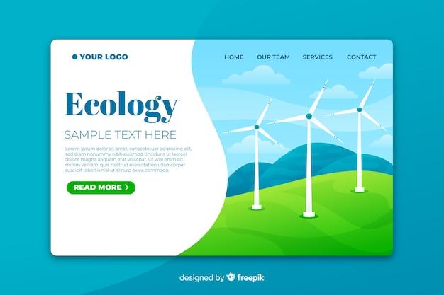 Modelo de página de destino de ecologia com turbinas eólicas