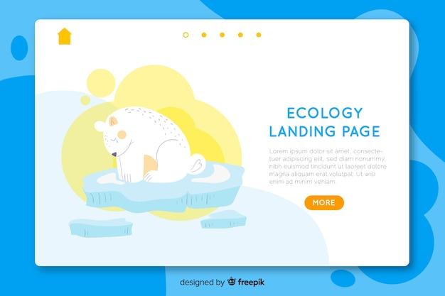 Modelo de página de destino de ecologia desenhada mão