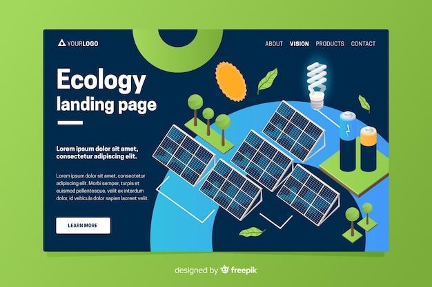 Modelo de página de destino de ecologia isométrica