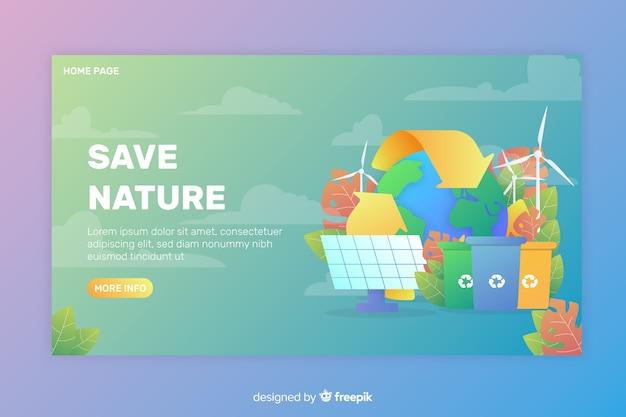 Modelo de página de destino de ecologia plana