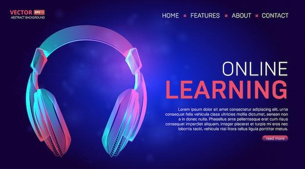Modelo de página de destino de educação de aprendizagem on-line. ilustração no estilo de arte linha tecnologia com fones de ouvido roxos abstratos