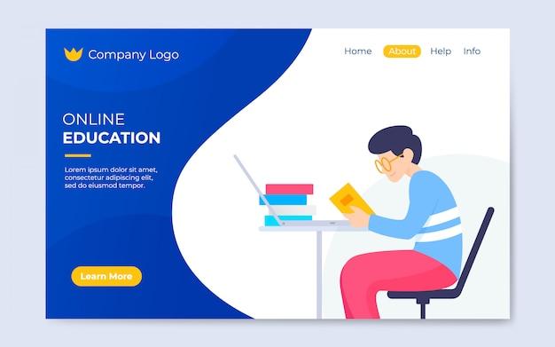 Modelo de página de destino de educação on-line plana moderna