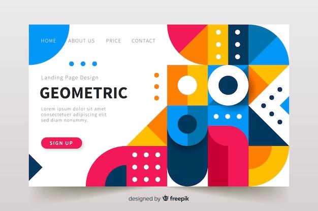 Modelo de página de destino de elementos geométricos
