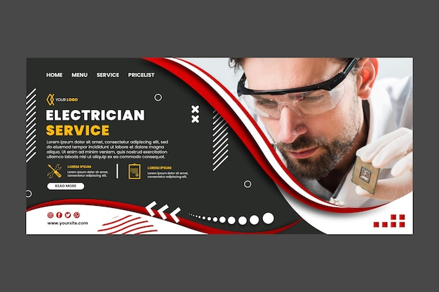 Modelo de página de destino de eletricista