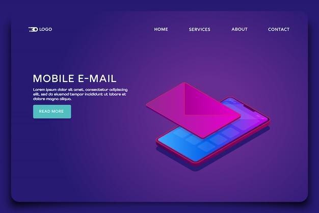 Modelo de página de destino de email para celular