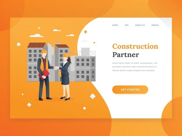 Modelo de página de destino de empresa de construção